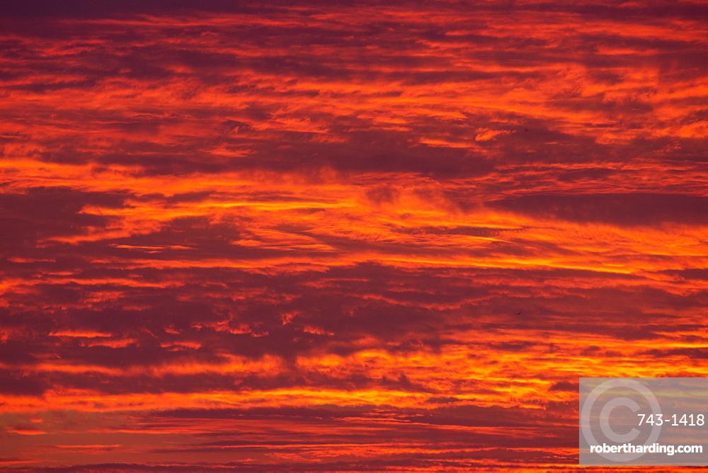 Sunrise cloudscape, Kgalagadi Transfrontier Park, South Africa, Africa