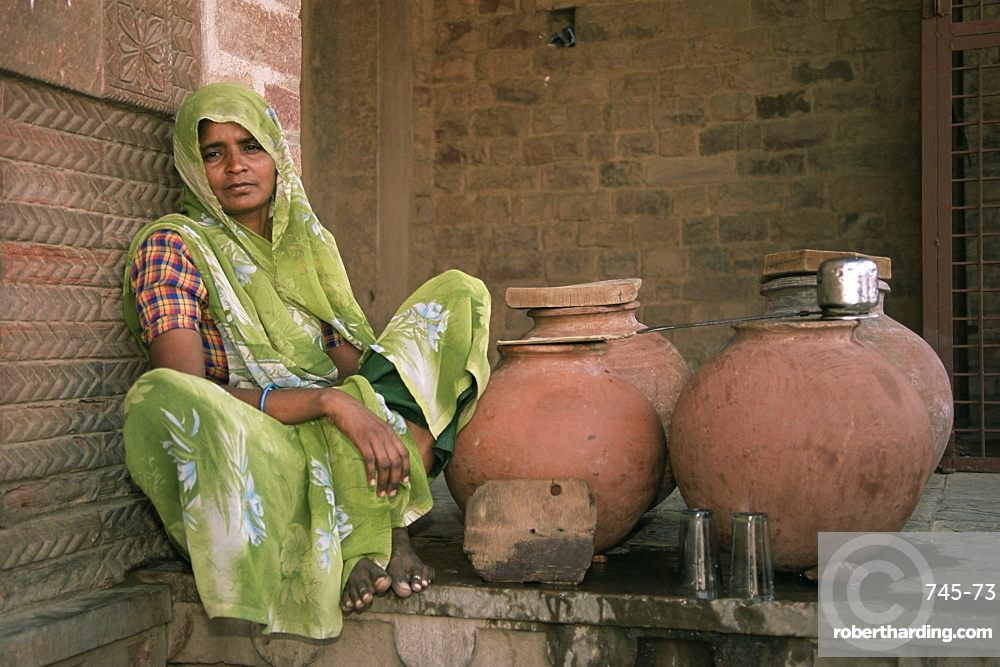 Water seller, Fatehpur Sikri, Uttar Pradesh state, India, Asia