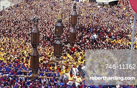 Crowd in Piazza del Comune, La Corsa dei Ceri feast on 15th of May, Gubbio, Umbria, Italy