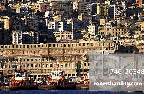 View from Porto Antico, Genoa, Ligury, Italy