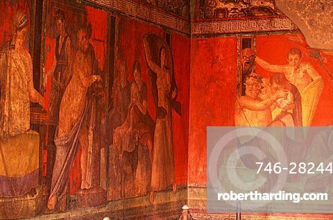 Frescoes in the Villa dei Misteri, Pompei, Campania, Italy