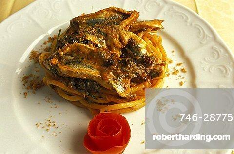 Pasta with anchovies, Santandrea restaurant, Palermo, Sicily, Italy