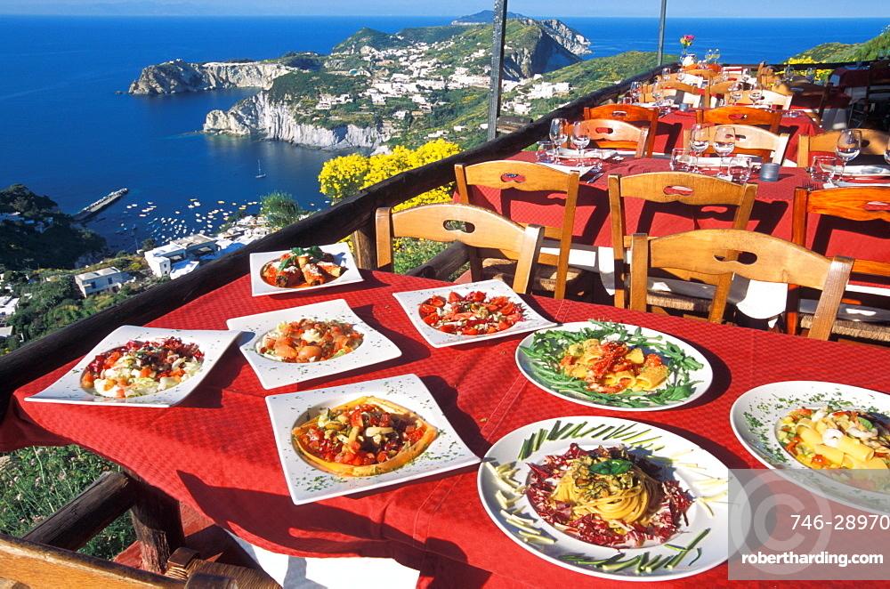 Terrace, Il Tramonto restaurant, Ponza island, Lazio, Italy