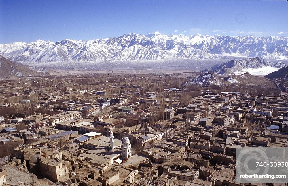 Leh city seen from the Royal Palace, Ladakh, India, Asia