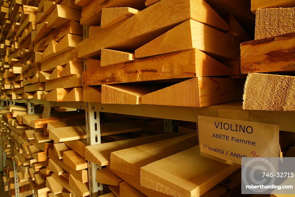 Pinewood storage for making lutes, Ciresa industry, Tesero, Trentino Alto Adige, Italy