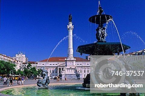 Piazza Dom Pedro IV, Also said Piazza Rossio, Lisbona, Portugal, Europe