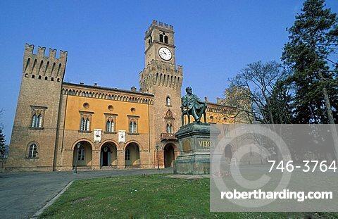 Castle with statue of Verdi, Busseto, Parma, Emilia-Romagna, Italy