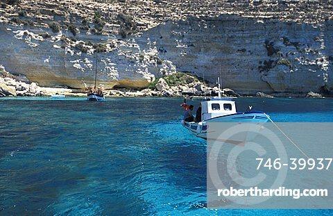 Cliff, Tabaccara bay, Lampedusa island, Sicily, Italy