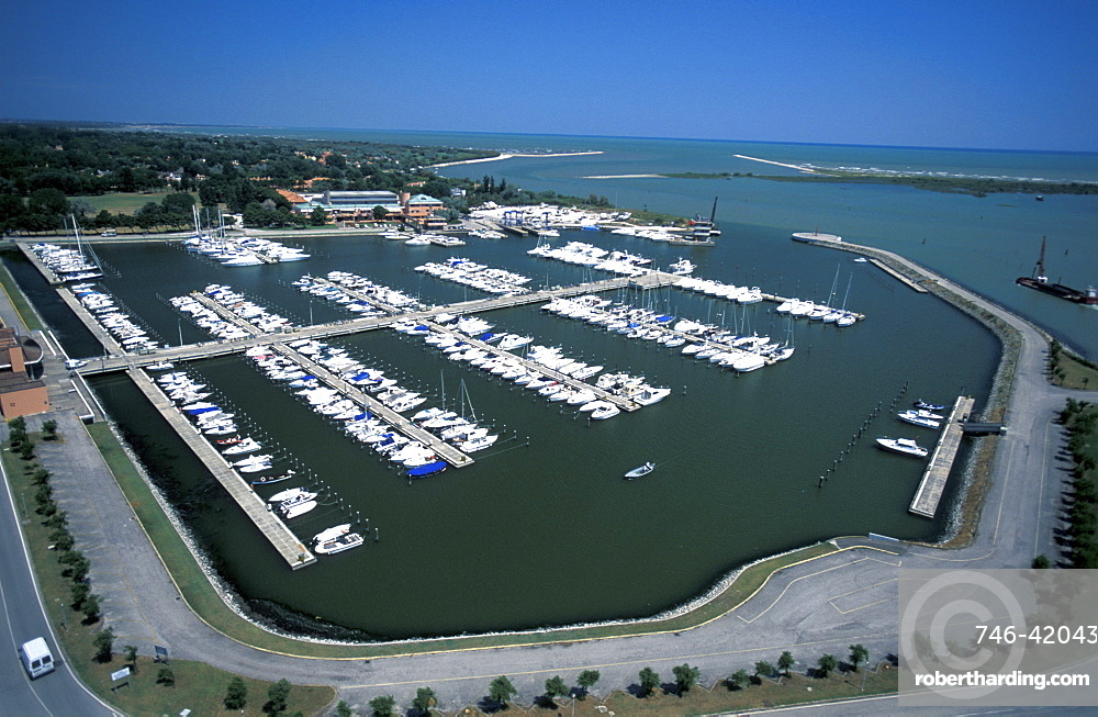 Aerial view of Albarella Island, Veneto, Italy