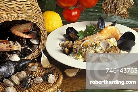 Rice with seafood, Italy