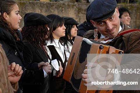 Typical carnival, Mamuthones parade, Mamoiada, Sardinia, Italy, Europe