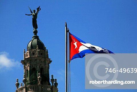 Flag, Parque Central, Havana, Cuba, West Indies, Central America