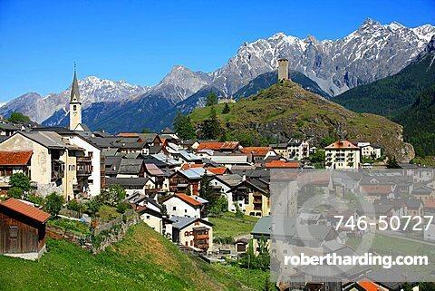 View of town, Ardez, Bassa Engadina, Switzerland, Europe