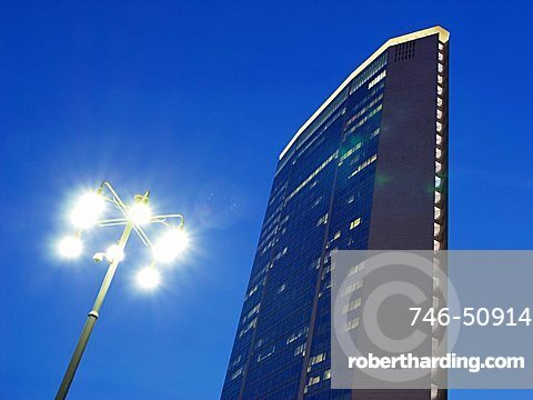 Pirelli Building and street light at dusk, Milan, Lombardy, Italy, Europe