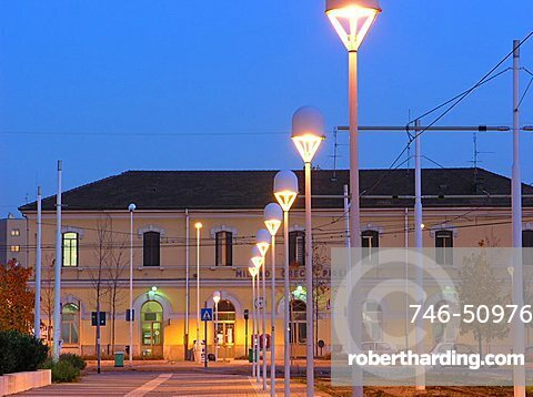 Greco Railway Station at dusk, Milan, Lombardy, Italy, Europe