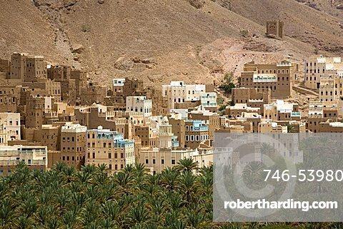 Village view, Al Hab, Wadi Doan, Yemen, Middle East