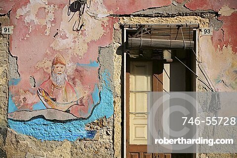 Painted wall, Brucoli, Sicily, Italy
