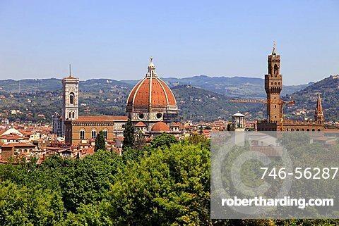 Sight on Duomo and Palazzo Vecchio, Boboli Gardens, Florence,Tuscany,Italy
