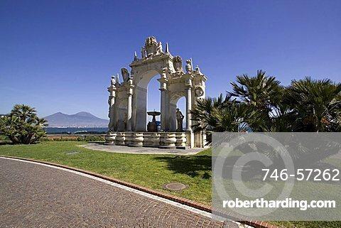 Fontana del Sebeto fountain, Caracciolo street,  Naples, Campania, Italy, Europe