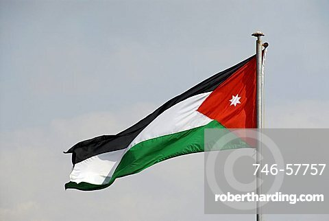 Jordan flag, Jordan, Middle East
