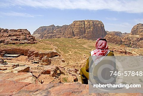 Guard, archaeological site of Petra, Jordan, Middle East