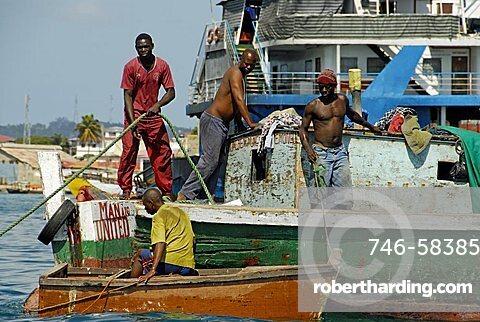 Fishermen, Stone Town, Zanzibar, United Republic of Tanzania, Africa
