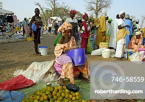 Woman at a vegetable stall, Republic of Senegal, Africa
