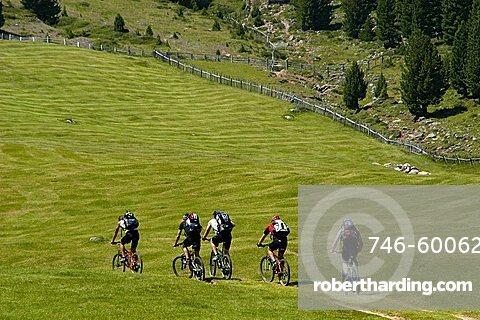 on Bike near Brogles refuge, between Gardena Valley and Funes Valley, Alto Adige, Italy