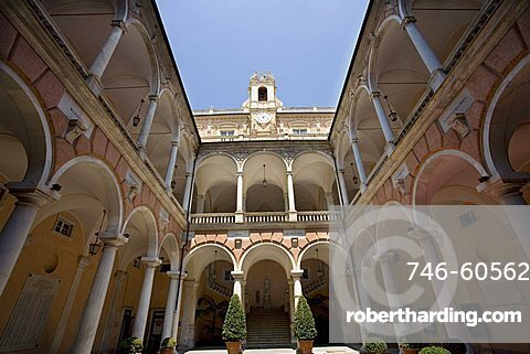 Town Hall courtyard, Via Garibaldi, Strade Nuove, Rolli Palaces, Genoa, Ligury, Italy