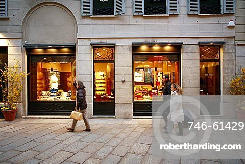 Car Shoe shop, Via della Spiga 1 street, Milan, Lombardy, Italy, Europe