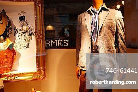 Hermes shop window, Via Sant'Andrea 11 street, Milan, Italy, Europe