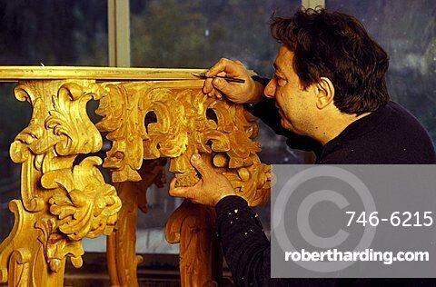 Wood carver, Naples, Campania, Italy