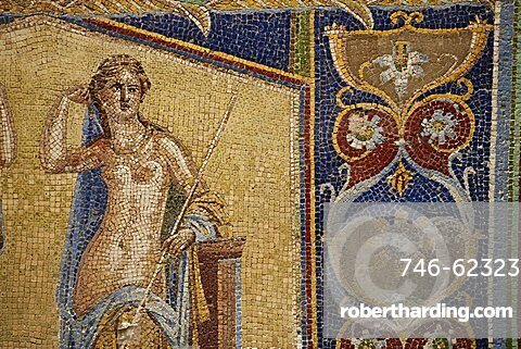 mosaic of Herculaneum, a large Roman town destroyed in 79AD by a volcanic eruption from Mount Vesuvius, UNESCO World Heritage Site, Ercolano, Naples, Campania, Italy, Europe