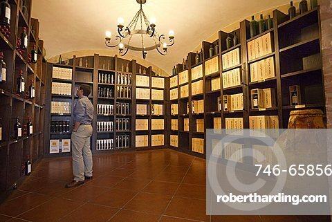 Sella & Mosca winery in Alghero, Sardinia, Italy. Vermentino wine, Canonau. Red and white wine