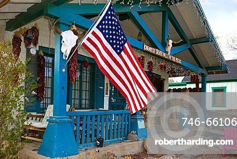American flag, Madrid, New Mexico, United States of America, North America