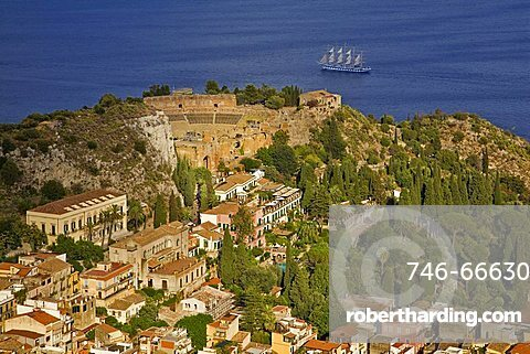 Cityscape and Greek Theatre, Taormina, Sicily, Italy, Europe