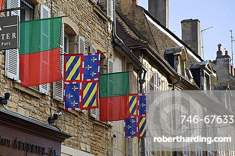 Facade with flags, Beaune, Bourgogne, Burgundy, France, Europe
