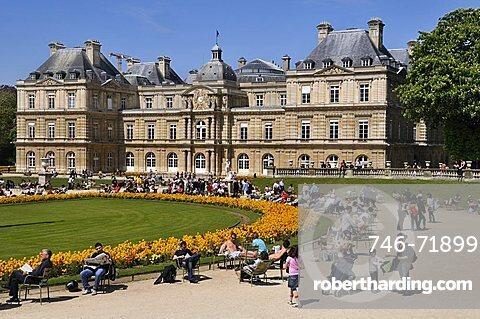 Luxembourg Palace and Jardin du Luxembourg, Rive Gauche, Paris, Ile-de-France, France, Europe