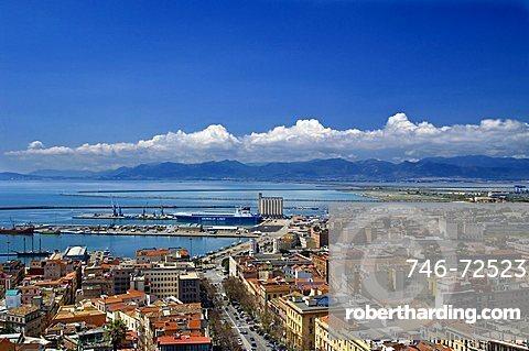 Skyline, harbour, via Roma, Castello, Cagliari, Sardinia, Italy, Europe