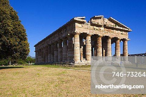Hera temple also called Nettuno temple or Poseidon temple, Paestum archaeological area, Campania, Italy