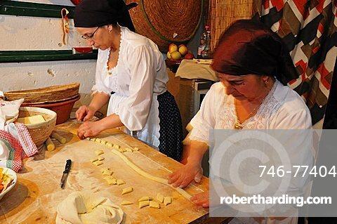 Preparation of a typical pasta, Baunei, Sardinia, Italy, Europe
