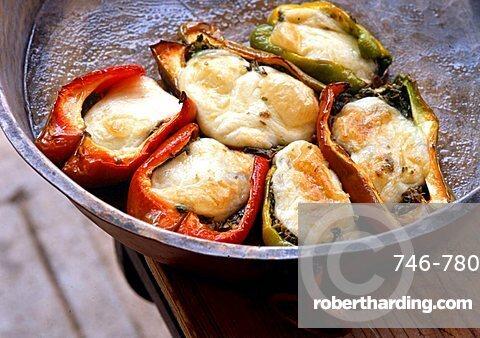Stuffed peppers with mozzarella di bufala, Italy