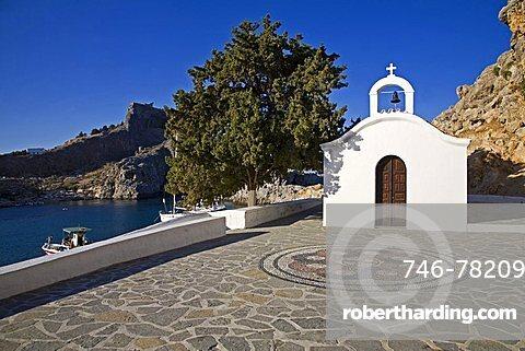 Church in Saint Paul bay, Lindos, Rhodes Island, Dodecanese, Greek Islands, Grece, Europe