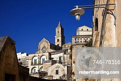 Sassi of Matera and the Cathedral, Old Town, Matera, Basilicata, Italy