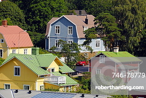Colourful houses, Mariehamn, Aland, Finland, Scandinavia, Europe
