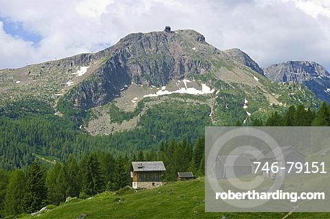 landscape towards fuchiare mountain hut, san pellegrino pass, italy