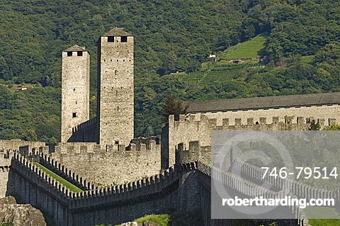 castelgrande and the murata, bellinzona, switzerland