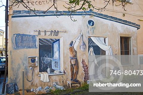 Murales, Casa del Pecorino, Tortolì, Provincia di Ogliastra, Sardinia, Italy