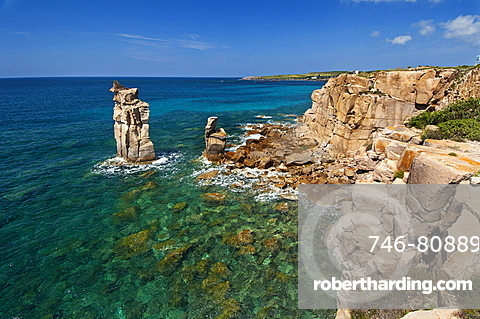 Le Colonne stacks, Carloforte, St Pietro Island, Carbonia - Iglesias district, Sardinia, Italy, Europe