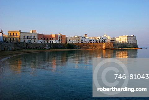 View of the old town over Puritv† beach, Gallipoli, Salentine Peninsula, Apulia, Italy